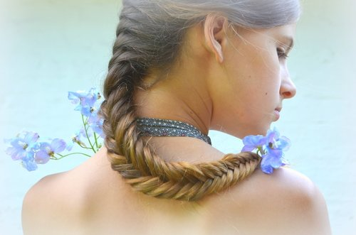 Fishtail look pigtail braids