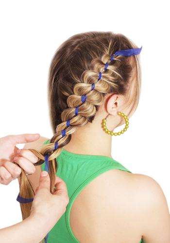 Ribbon-pony pigtail braids